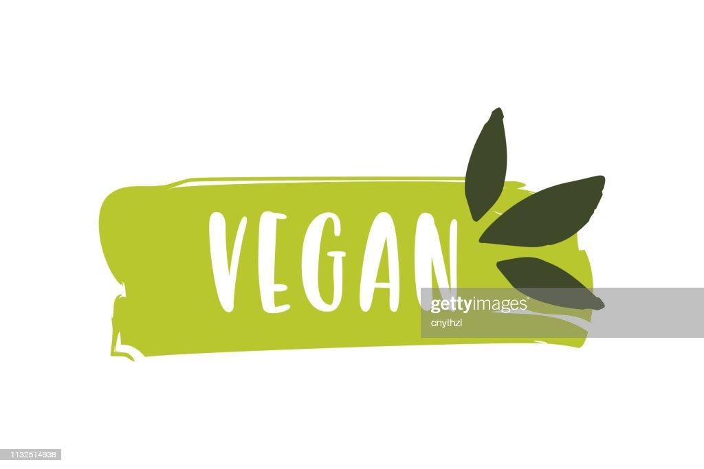 Veganes Logo. Rohes, gesundes Lebensmittelabzeichen, Etikett für Café, Restaurants und Verpackungen : Stock-Illustration