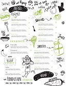 Vegan menu with hipster chef, doodle organic food and lettering. Funny ecological concept