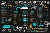 Vegan menu with hipster chef, doodle organic food and lettering. ecological concept on dark chalk board