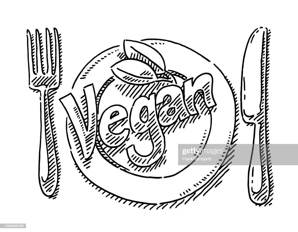 Vegane Text Tabelle Einstellung Zeichnung : Vektorgrafik