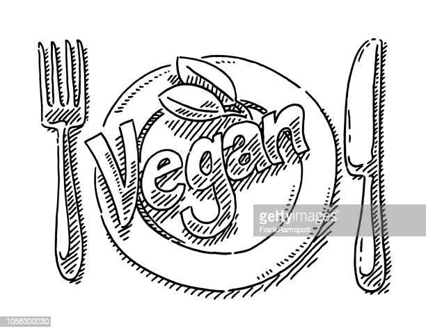 Vegane Text Tabelle Einstellung Zeichnung