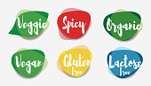 Vegan veggie spicy organic gluten free and lactose free icons vector.