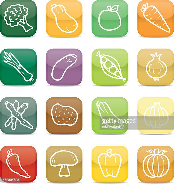 vegetable app style icons - marrom stock illustrations