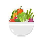 Vegetable bowl. Slices of vegetables.