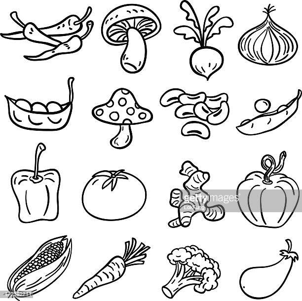 vegetable collection in black and white - illustration - pepper vegetable stock illustrations