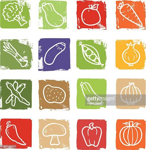 vegetable doodle icon blocks - marrom stock illustrations