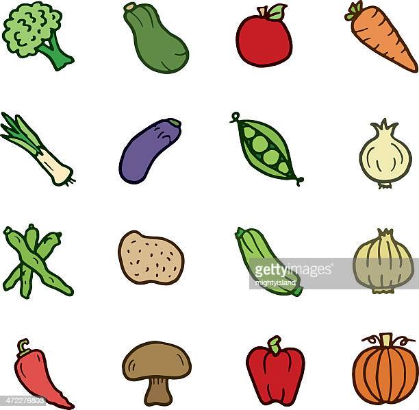 Vegetable doodle icons
