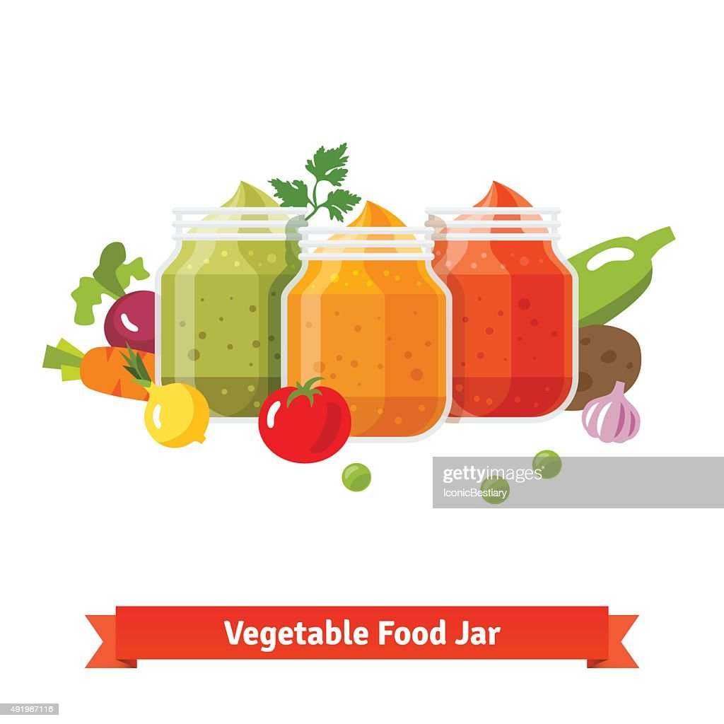 Vegetable food jars. Baby puree