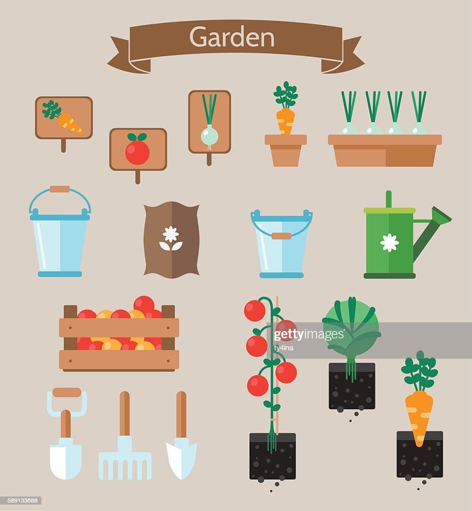 Vegetable garden planner flat design.Beds. Garden tools