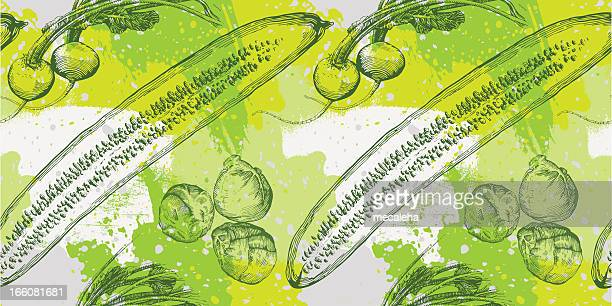 vegetable grunge design - brussels sprout stock illustrations, clip art, cartoons, & icons