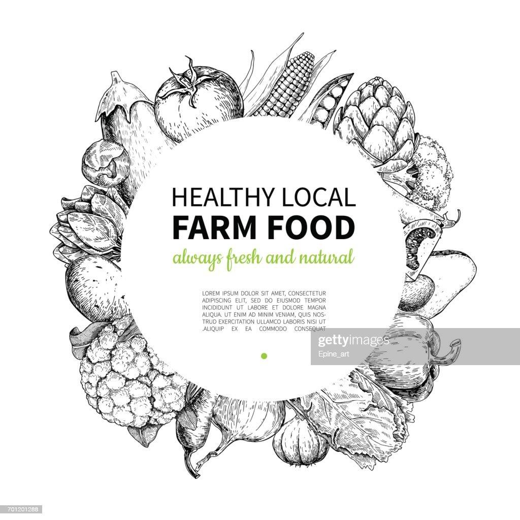 Vegetable Hand Drawn Vintage Vector Frame Illustration Farm Market ...