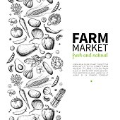 Vegetable hand drawn vintage vector frame illustration. Farm Market poster. Vegetarian set of organic products.