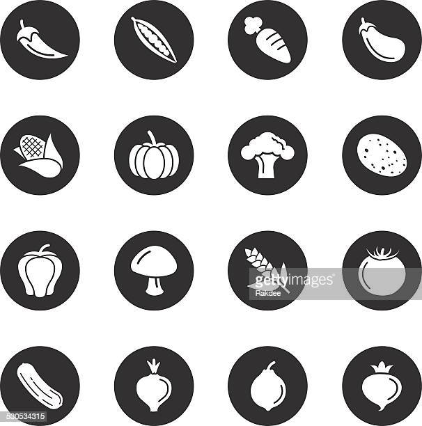vegetable icons - black circle series - zea stock illustrations, clip art, cartoons, & icons
