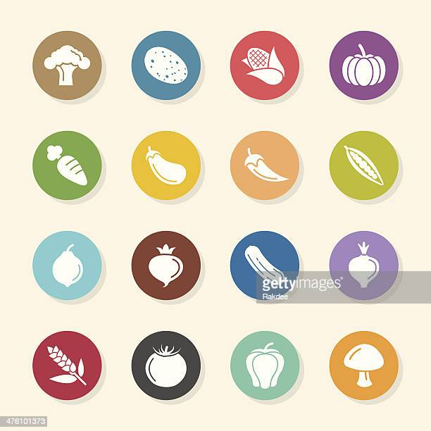 Vegetable Icons - Color Circle Series