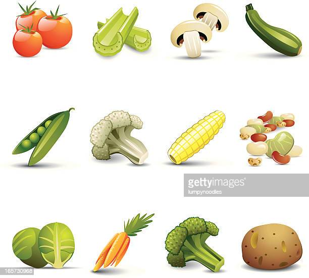 vegetable icons - broccoli stock illustrations, clip art, cartoons, & icons