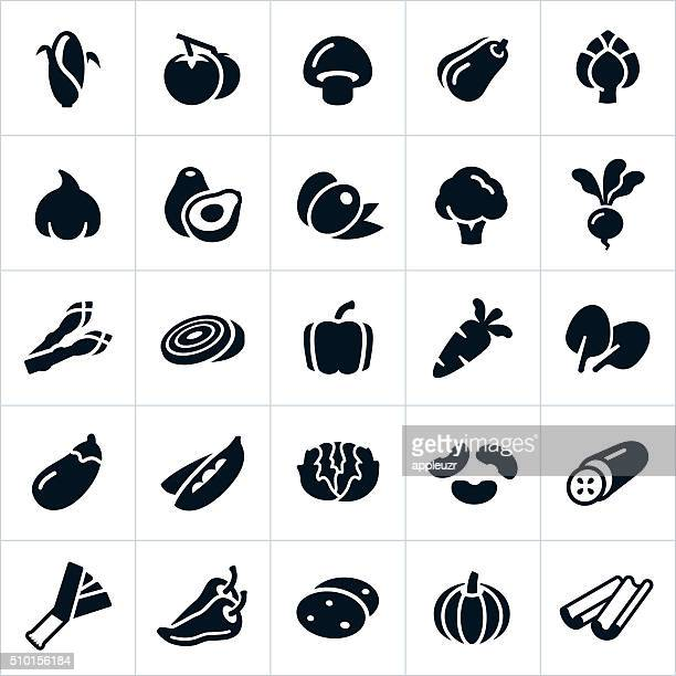 vegetable icons - pepper vegetable stock illustrations