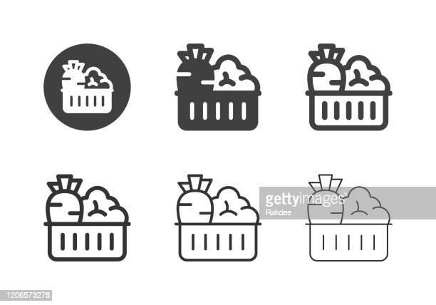 illustrations, cliparts, dessins animés et icônes de légumes dans les icônes de panier - série multi - panier