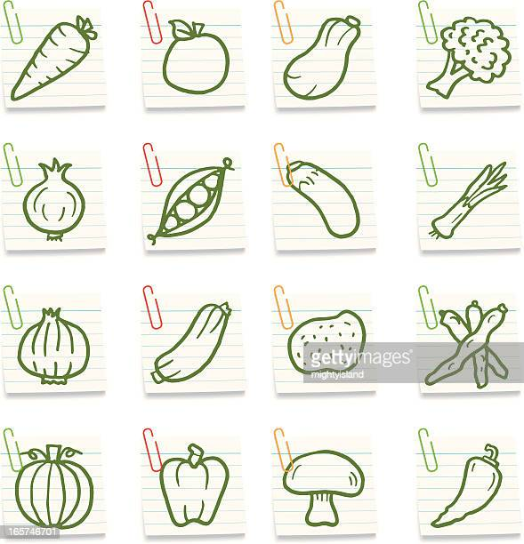 vegetable notes - leek stock illustrations, clip art, cartoons, & icons