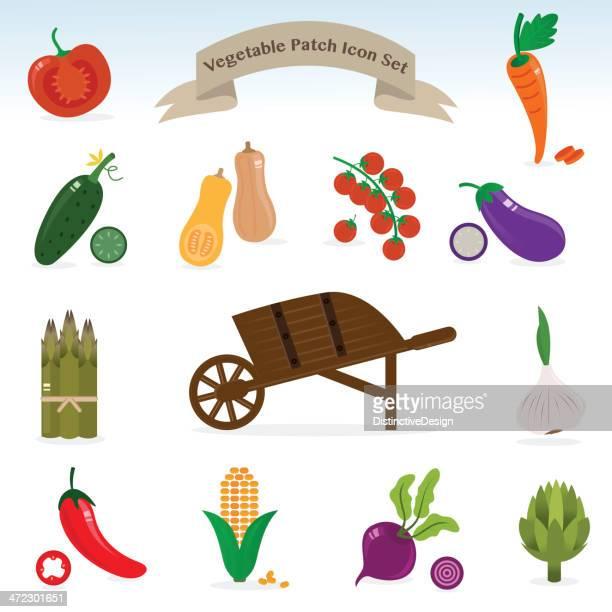 vegetable patch icon set - wheelbarrow stock illustrations, clip art, cartoons, & icons