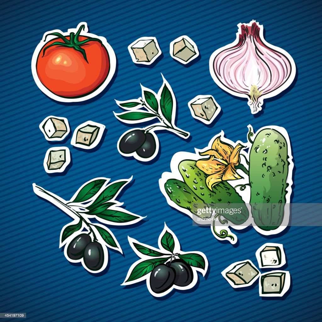 Ensalada de vegetales ingredients. aceitunas, queso feta para la familia de salud : Arte vectorial