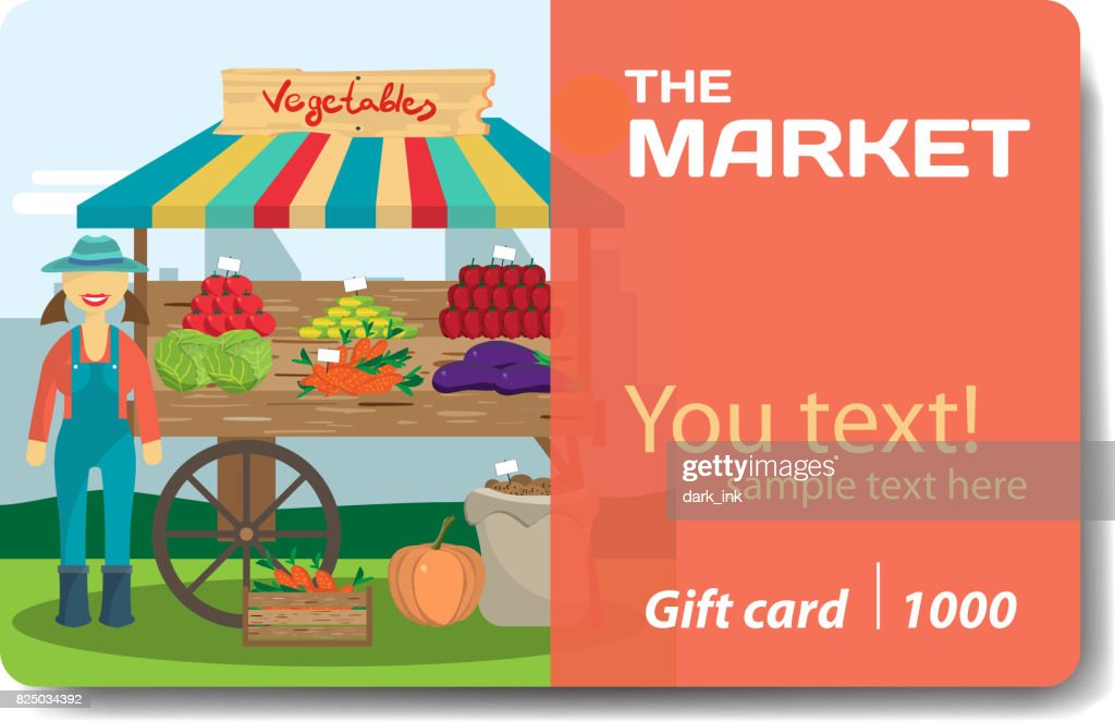 Vegetable shop. Sale discount gift card
