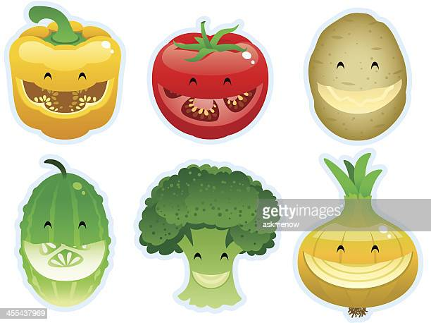 vegetable smileys - broccoli stock illustrations, clip art, cartoons, & icons