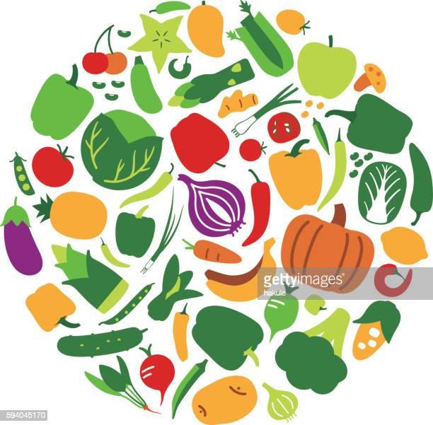 illustrations, cliparts, dessins animés et icônes de icône légumes et fruits en cercle, illustration vectorielle - fruit