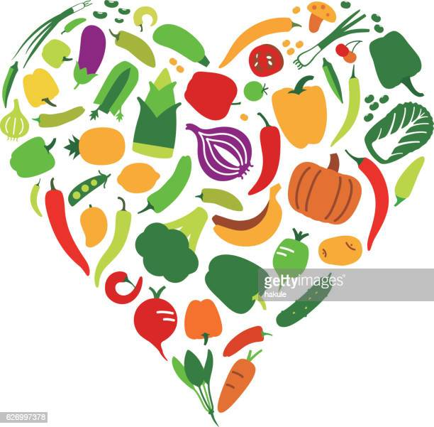 Vegetables and fruit icon set in heart shape, vector illustration