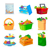 Vegetables and fruits different storage in the house and in the store. Fruit basket. Fruit plate. Fruitful set.