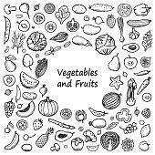 Vegetables and Fruits Doodle Frame