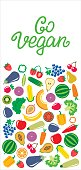 Vegetables and fruits icons rectangle frame bacground
