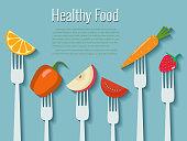 Vegetables and fruits on forks. Healthy food vector illustration