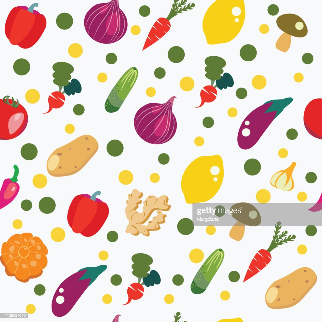 Vegetables background in flat style, pattern seamless healthy food.