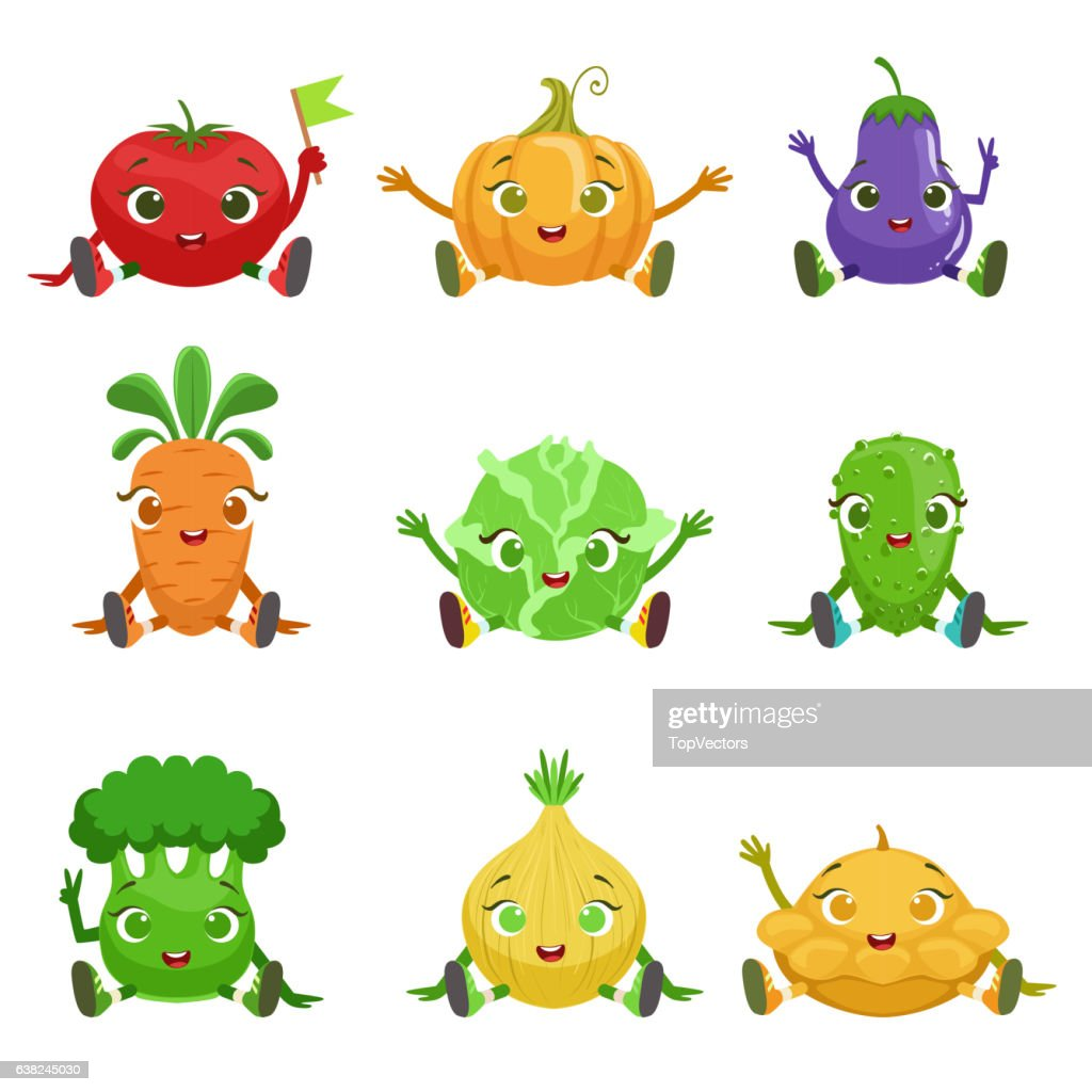 Vegetables Cute Girly Characters Sitting And Waving