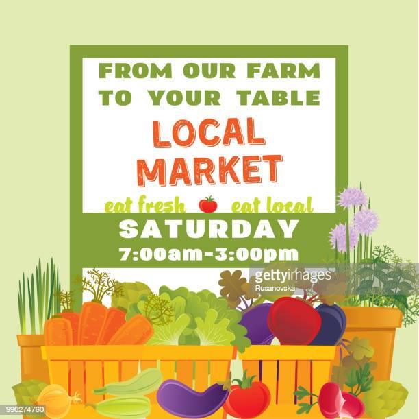 vegetables farm. local market. - marrom stock illustrations