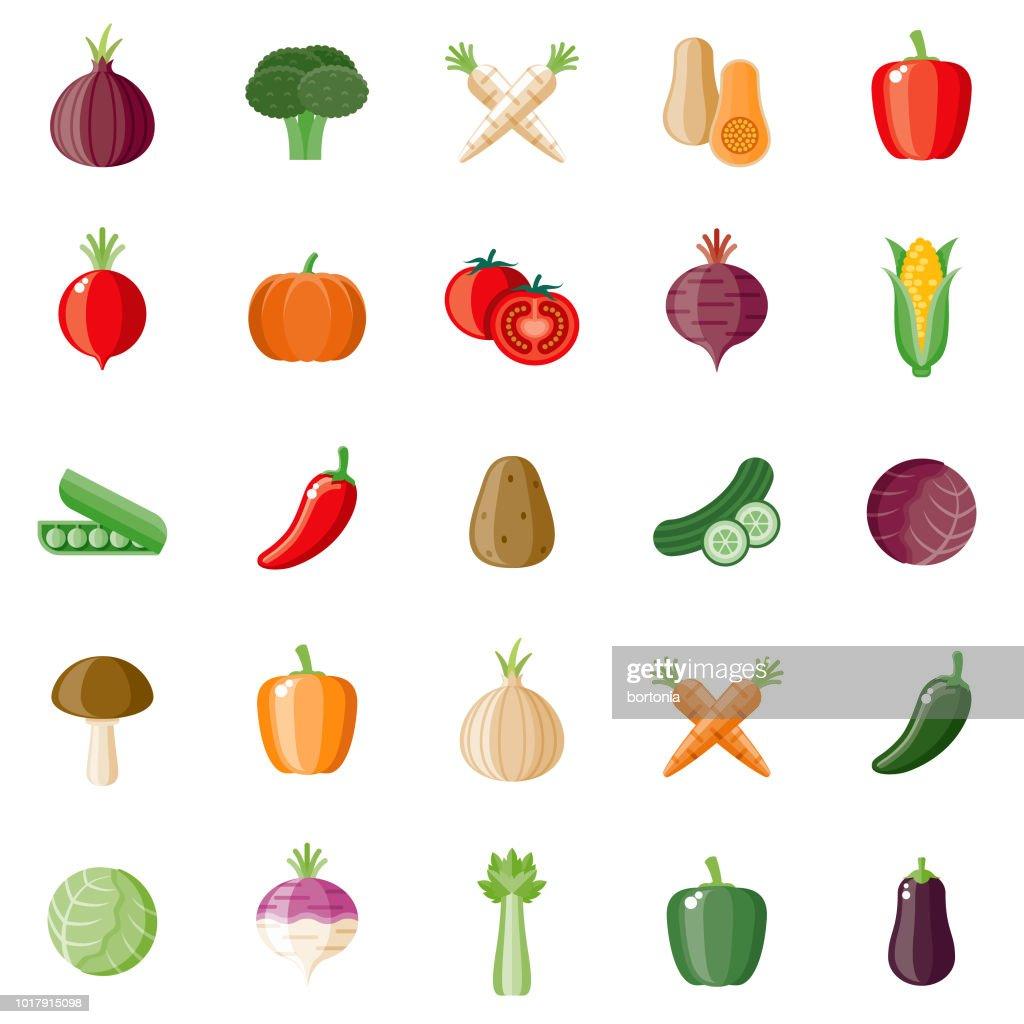 Conjunto de iconos de diseño plano de verduras : Ilustración de stock