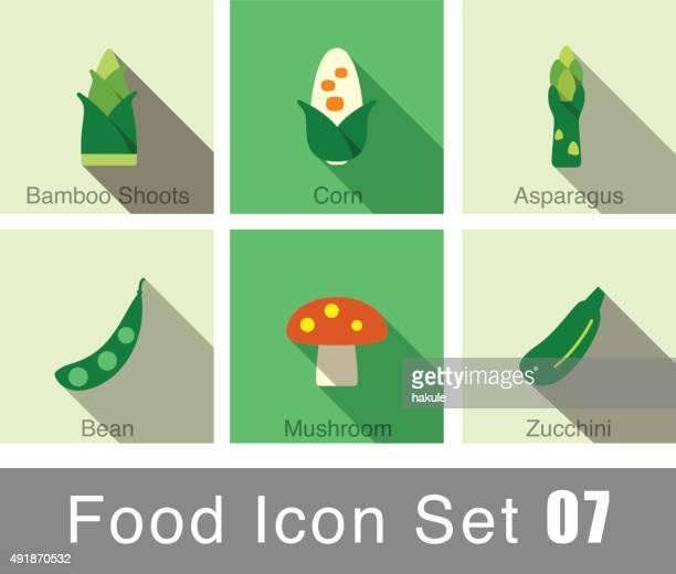 vegetables food flat icon set - asparagus stock illustrations, clip art, cartoons, & icons