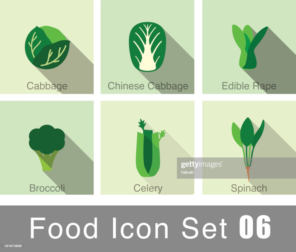 Vegetables food flat icon set