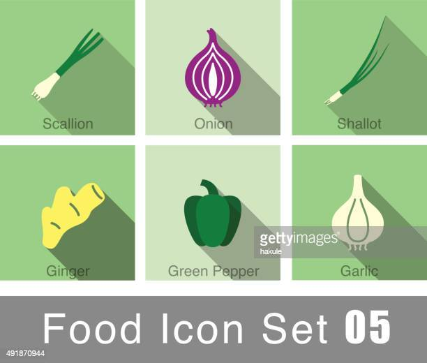 vegetables food flat icon set - onion stock illustrations, clip art, cartoons, & icons