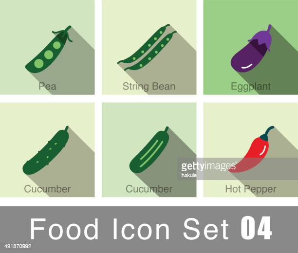 vegetables food flat icon set - cucumber stock illustrations, clip art, cartoons, & icons