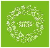 Vegetables Food Shop Round Design Template Outline Icon Concept. Vector