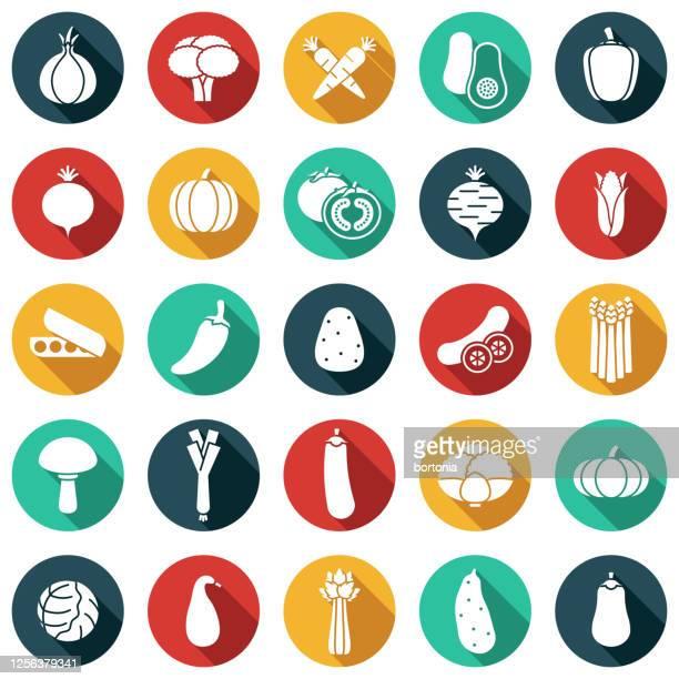 vegetables glyph icon set - green chili pepper stock illustrations