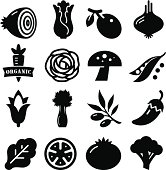 Vegetables Icon - Black Series