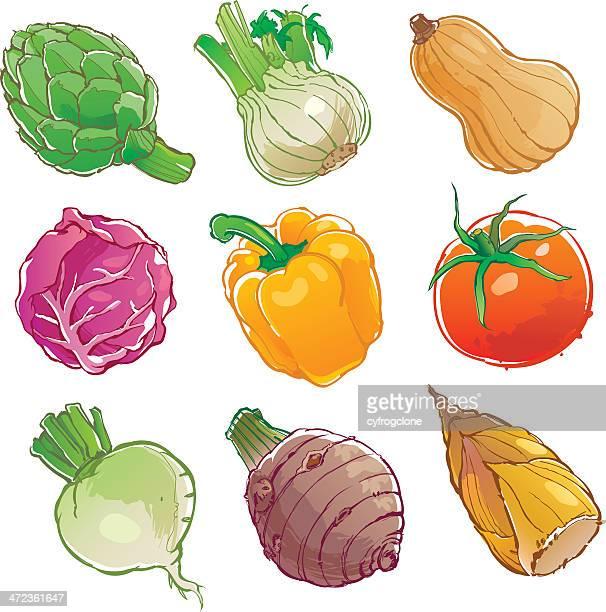 vegetables icon - illustration - bell pepper stock illustrations, clip art, cartoons, & icons
