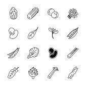 Vegetables icons - Lettuce, spinach, pea and beans