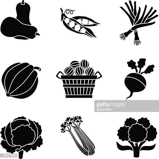 vegetables icons - cauliflower stock illustrations, clip art, cartoons, & icons
