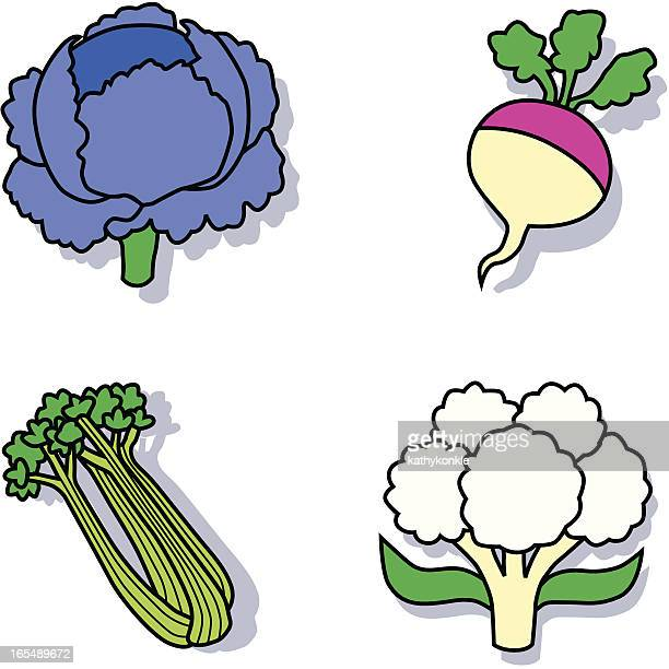vegetables icons - red cabbage stock illustrations, clip art, cartoons, & icons