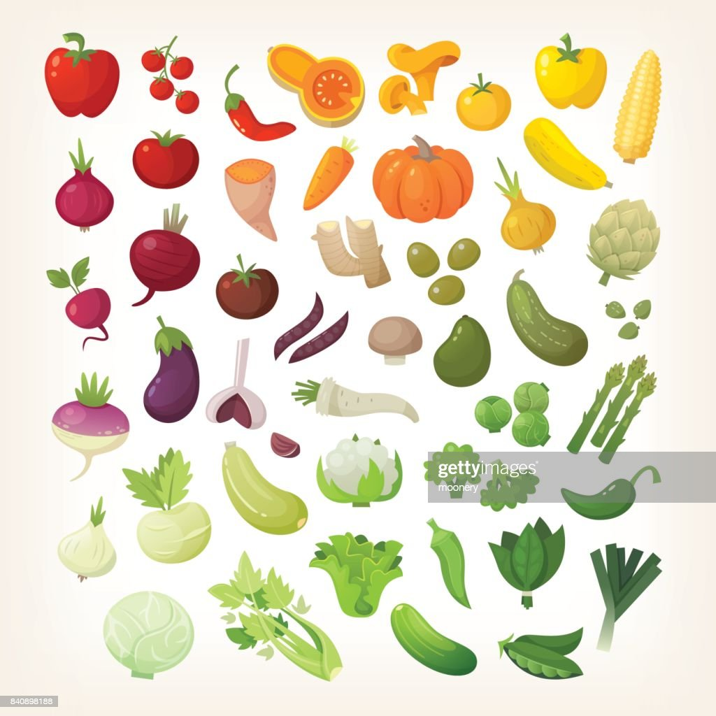 Vegetables in rainbow layout