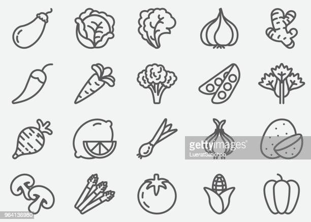 vegetables line icons - broccoli stock illustrations, clip art, cartoons, & icons