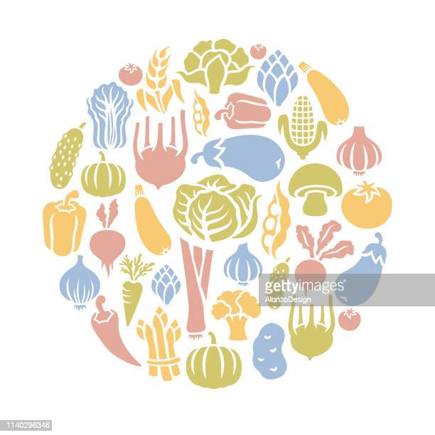 vegetables round composition - white cabbage stock illustrations, clip art, cartoons, & icons
